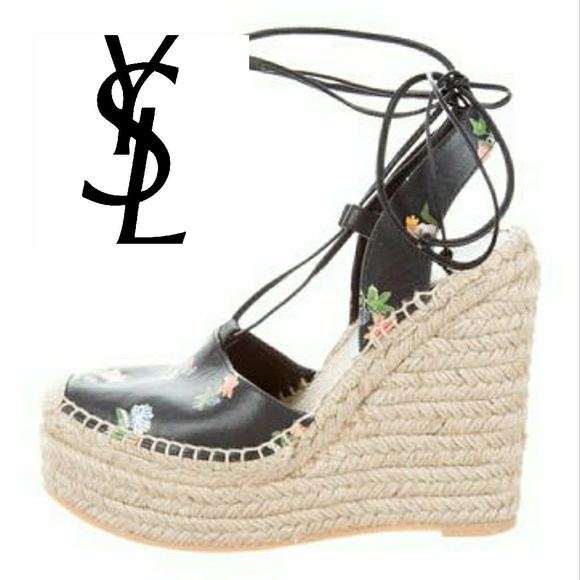 fa3eec3a8a1a YSL Floral Espadrille Wedges